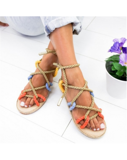 Summer Women Cross Strap Bandage Sandals