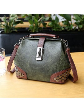 Retro Rivet Messenger Crossbody Bag