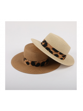 Sunscreen leopard straw hat