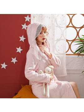 Thickening Lace Flannel Night gown