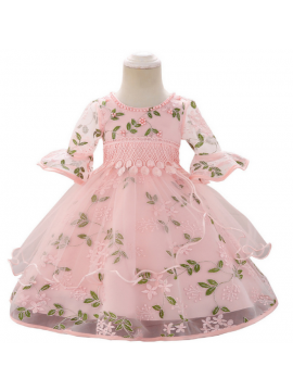 Children's short-sleeved lace dress