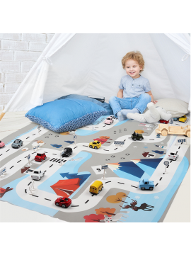 Children's traffic game mats and toy sets