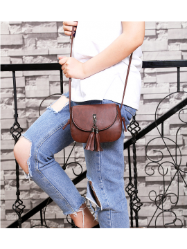 Leather Messenger Bag with Tassel