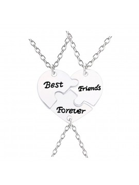 BFF Pendant Silver Puzzle Necklace