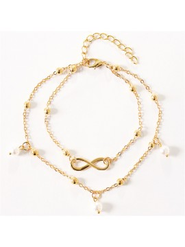 Ladies Double Layers Metal Anklet