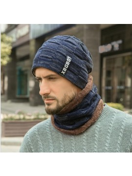 Men Knitted Beanie with Scarf