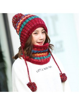 Women Knitted Hat With Scarf