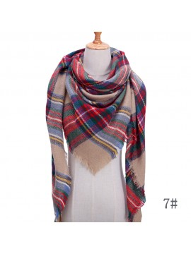 Women's Triangular Plaid Scarf Shawl